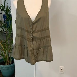 DECREE XL Olive green, button vest, beautiful